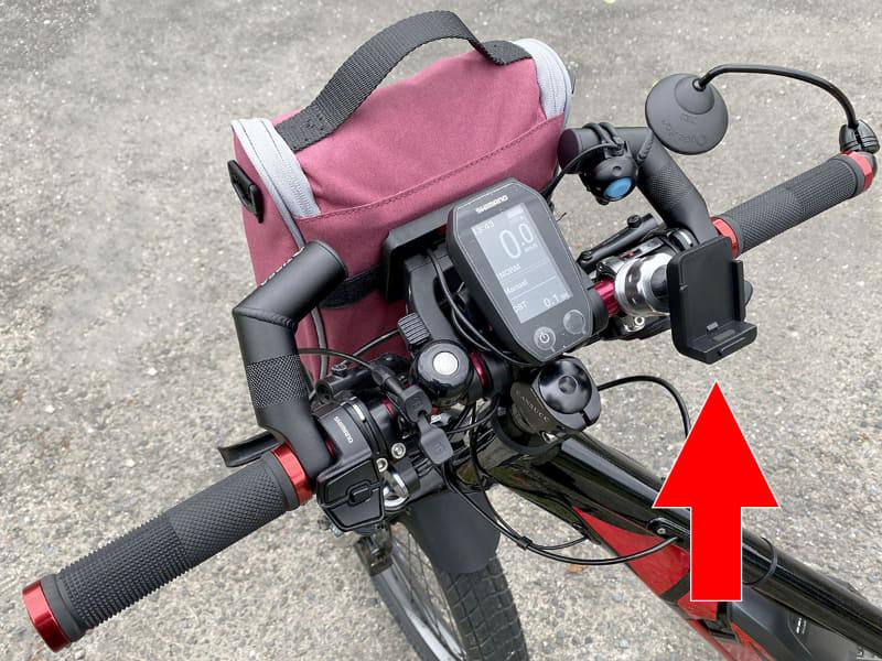 「RM25-A1」と「RM25-JC22」を合体させたものを、自転車のハンドルに装着。ガッチリと取り付けられました