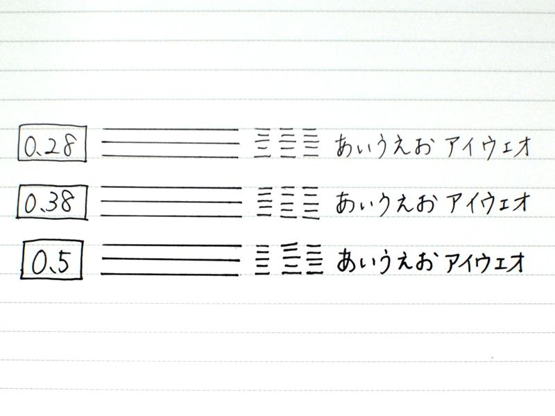 筆記線の太さの違いは明らかだ